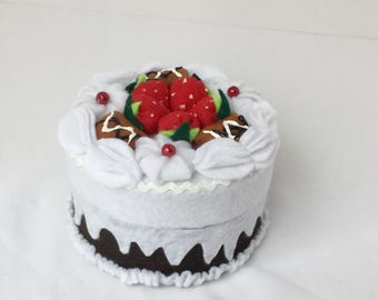 Small Round Felt Strawberry Cake Gift Box: 4 Inches Wide, 3 Inches Tall