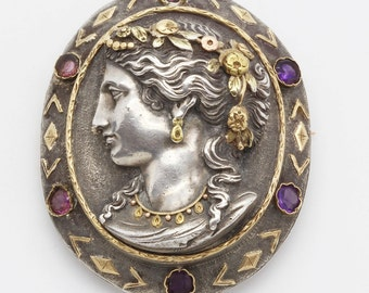 Antique Brooch Pendant Silver Gold Amethysts Garnets Sculpted Woman (#6104)