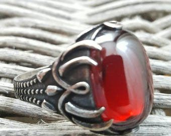 Sterlin Silver Men Ring With Natural Garnet Stone