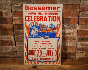 Vintage Bessemer Bicentennial Celebration Poster Cardboard Advertising Uncle Sam Red White Blue Patriotic Man Cave Wall Decor