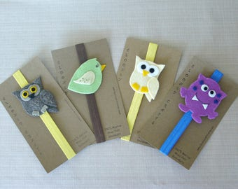 Owl Bookmark, Bird Bookmark, Alien, Elastic Bookmark, Elasticated, Children's Bookmark, Child's Bookmark, Gift for Teacher, Ready to Ship.