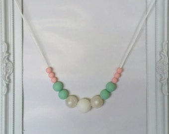 Teething neclace 'Pink & Mint'