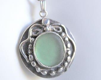 Sea glass jewelry - light green sea glass necklace - genuine sea glass necklace - handmade necklace - bohemian necklace - seaglass necklace
