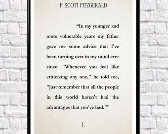 The Great Gatsby Literary Print Book Wall Art F. Scott Fitzgerald Quote Book Poster Literature Gift