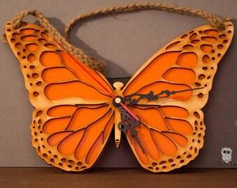 Butterfly clock - wall clock - lasercut butterfly - hanging wall clock