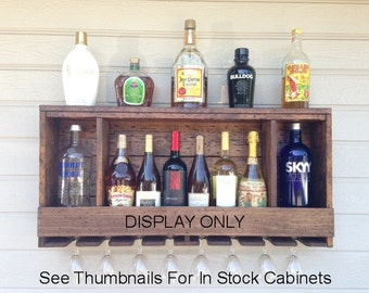 "UNIQUE Three Shadowbox Liquor Cabinet W/Lighting Options. Finished Distressed (FD). See Thumbnails For In Stock 36"" Cabinets."