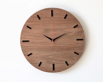 "Wooden clock, 15.7 ""(40 cm), WALNUT, wall clock, modern clock"