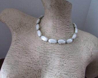 Kramer Vintage White Thermoset Rhinestone Necklace Thermoplastic Kramer Necklace