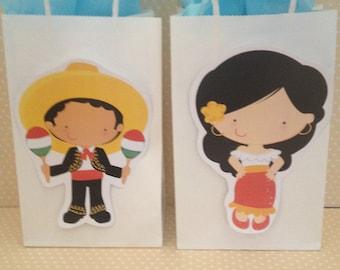 Fiesta, Cinco De Mayo Party Bags With Handles - Set of 10