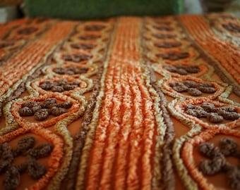Retro 1960s chenille bedspread, blanket orange, brown Dutch European