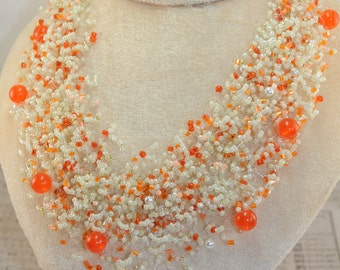Air necklace Orange beads Jewelry handmade beaded crochet beads air necklace A gift for her Crochet necklace Multistrand necklace