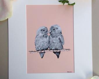 Lovebirds, Original Art, Pen and Ink
