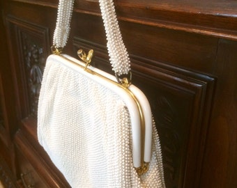 Purse Handbag Vintage Purse Beaded Purse Beaded Handbag White Purse Wedding Purse Bridal Purse Vintage Handbag Gift for Bride Lumured