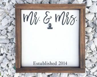 Mr & Mrs, Mr and Mrs, Mr and Mrs Frame, Established Sign, Personalized Wedding Frame, Wedding Gift, Wedding Picture Frame, Anniversary Frame