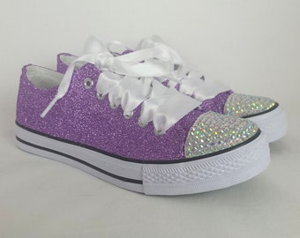 Glitter bridal shoes. Custom lilac converse style pumps, bridal shoes plimsolls, flats. Lavender and silver, sparkly custom wedding shoes