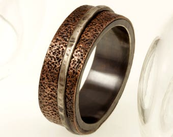 Bark men's Ring, Man's unique wedding Ring, Textured Engagement Ring, Copper Men's Ring, Silver copper ring, Men's Wedding Band, RS-1220