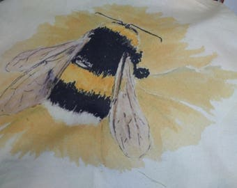 Bee on a fabric panel