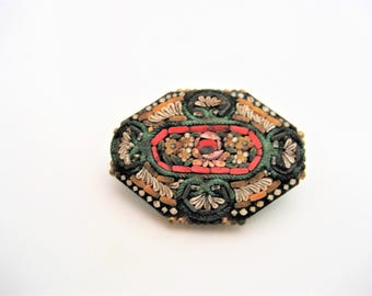 Vintage Mosaic Brooch Made In Italy Micro Mosaic Brooch Mosaic Pin  Millefiori Brooch   Millefiori Pin