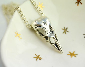 Pendant bird head, silver plated chain necklace