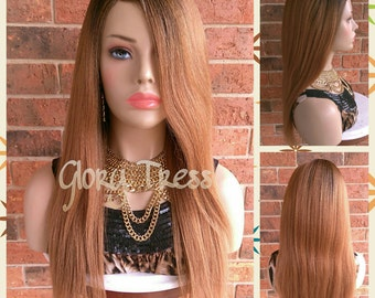 ON SALE / 100% Brazilian Remy Human Hair, Long & Straight Full Wig, Ombre Auburn, Yaki Texture, Lace Parting Closure, BLESSED(Free Shipping)