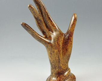 Ceramic Mottled Brown Ring Jewelry Holder Ceramic Jewelry Tree Glazed Handmade Hand Glove Mold Great Wedding Gift!