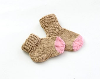 Hand knitted Pair of Socks for Your Baby  - Beige/Pink - Organic Wool - READY TO SHIP - Size: 0 - 6 months