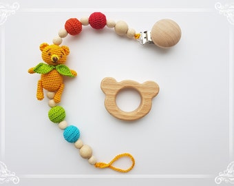 wood teether baby teething toy baby teether nursing necklace wooden teether baby teether toy baby gift dummy holder rattle baby toy clip