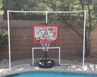 """Our """"The Ball Stops Here"""" backstop is placed behind your goal and is guaranteed to keep your balls in your pool, not all over your deck."""