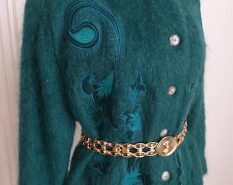 80s vintage embroidered fleece maxi