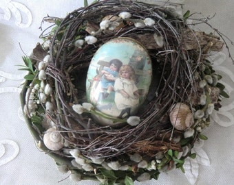 Easter decoration Easter wreath natural handmade with Pappei candy container nostalgic romantic natural easter wreath