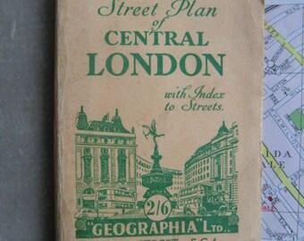 Old vintage city map London vest pocket Street plan of Central London