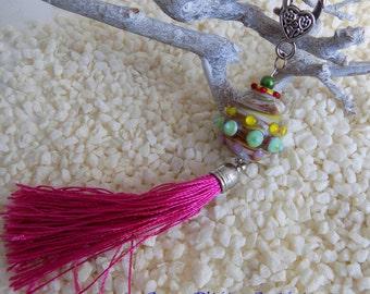 Key ring, jewel bag, glass bead
