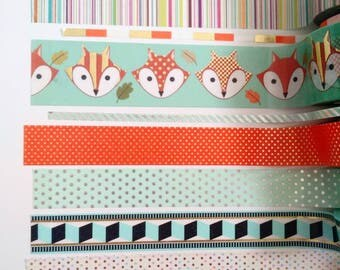 "Washi Tape 24"" samples/planner washi tape /mint washi /foxes /little B/rainbow/gold foil washi tape"