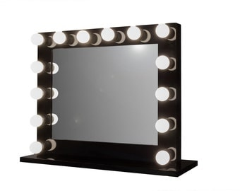 hollywood impact lighted vanity mirror w led bulbs double. Black Bedroom Furniture Sets. Home Design Ideas