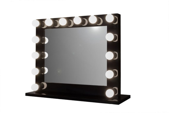 Grand Hollywood Lighted Vanity Mirror w/ LED Bulbs & Double