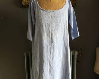 Antique French lavender blue linen flax ladies smock chemise nightdress initials MA size L 44 inch chest