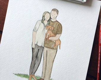 Custom Family Watercolor Portrait {Up to 4 Family Members}