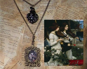 Waterhouse Angel Necklace with Potion or Perfume Bottle, Pre-Raphaelite, St. Cecilia, Victorian, Medieval, Renaissance