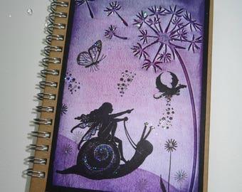 A6 Handmade Fairy Notebook, Fairy Journal,Fairysparkled Journal, OOAK fairy Notebook, Fairy and snail notebook .Purple dragon.Mothers day