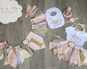 """The """"Victoria"""" Collection, Vintage First Birthday Outfit Girl, Scrappy Tutu, High Chair Banner, Smash Cake Outfit Girl,garden birthday"""
