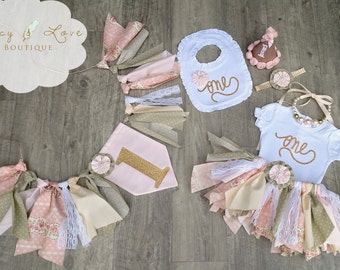 "The ""Victoria"" Collection, Vintage First Birthday Outfit Girl, Scrappy Tutu, High Chair Banner, Smash Cake Outfit Girl,garden birthday"