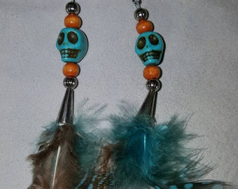 Turquoise skull and feather earrings-Pair
