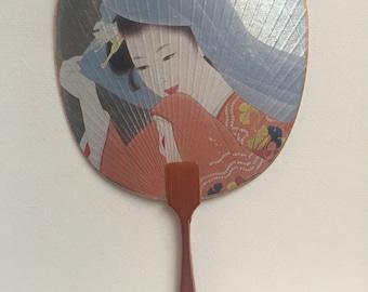 Vintage Japanese Fan, Uchiwa Fan, Gold Trimmed Hand Held Fan, Vintage Fan, Geisha Fan