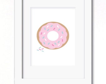 A4 pink donut print
