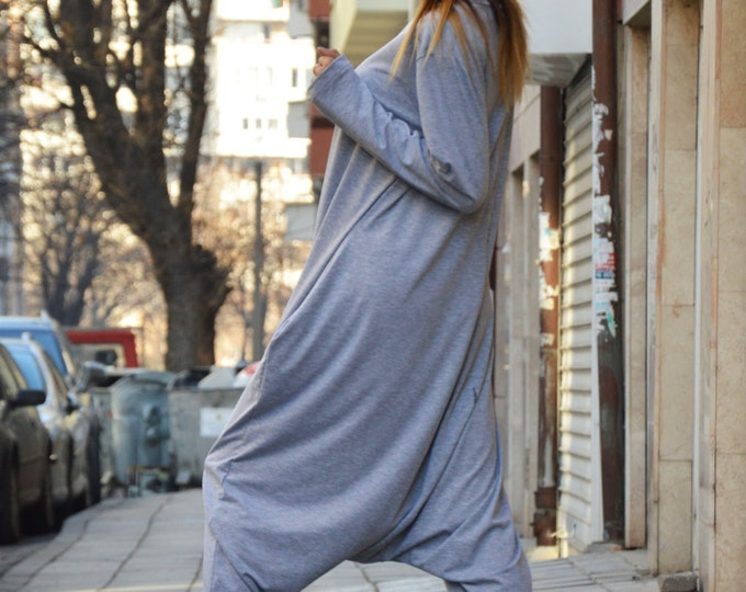 Gray Cotton Jumpsuit With Long Zipper, Casual Drop Crotch Pants, Extravagant Long Sleeves Maxi Jumpsuit By SSDfashion