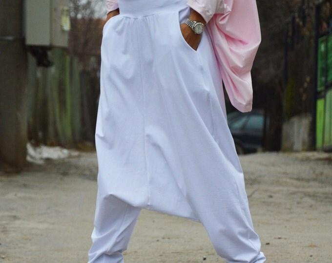 White Extravagant Pants, Woman Pants, Oversize Casual Pants, Plus Size Pants, Drop Crotch Harem Pants, Maxi Pants by SSDfashion