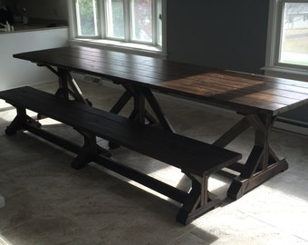 Custom Made Rustic Trestle Farmhouse Table - Up to 12' Length!!!