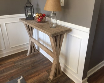 Custom Made X Base Weathered Entryway Table - Any Size Available