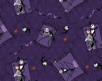 Nightmare Before Christmas Couple Cotton Woven, Nightmare Before Christmas Fabric, Jack Skellington Fabric, Cotton Woven, Quilting Fabric