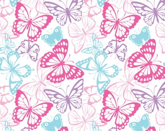 Butterfly Packed Cotton Spandex Knit, Butterfly Fabric, Butterfly Material, Butterfly Print Fabric, Jersey Knit Fabric, Cotton Knit Fabric